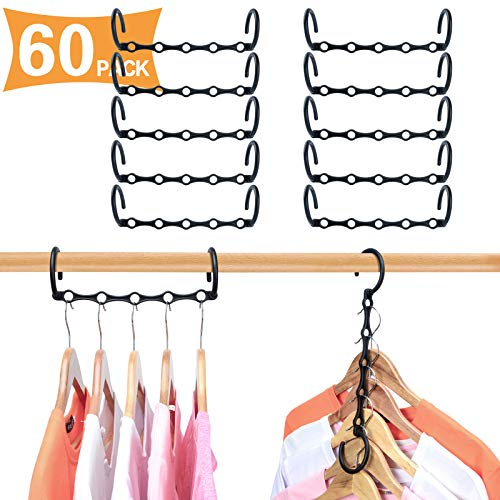 HWAJAN Closet Organizers and Storage Magic Hangers 60PC,Sturdy Plastic Space Saving Standard Hangers Closet Organizer for Dorms,Apartments,Room,Suit for Heavy Clothes, Jackets, Sweaters, Shirts,Black