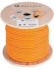 LW Electronic Högkvalitativ installationskabel Cat7 Gigabit LAN-kabel patchkabel avskärmning nätverkskabel S/FTP PIMF 1000 MHz Cat7 4 x 2 x AWG23 LSZH kabelkabel datakabel orange råkabel (Cat7A 50 m)