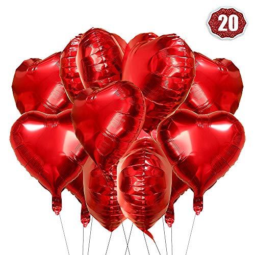 O-Kinee Palloncini Cuore Rosso, 20 Pezzi Amore Cuore Palloncini Rosso Cuore, Palloncini per Valentines Day, Palloncini Cuore Rosso per Nozze, Decorazione Festa di Compleanno di San Valentino (Rosso)