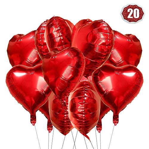 LAKIND Herz Folienballon rot 20 Stück Herz Helium Luftballons Herzluftballons Heliumballon Folienballon Hochzeit Folienluftballon Geeignet für Geburtstag Brautdusche Valentinstag (Rot-20pcs)