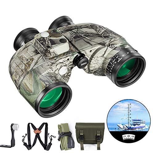 BNISE 10x50 Fernglas für Erwachsene Vögel Beobachten Jagd Eingebauter Kompass und Entfernungsmesser mit Brustgurt. Marine Tarnfarbe, wasserfest, Hochleistungs Teleskop