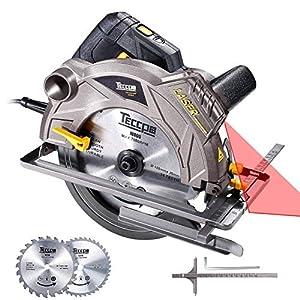 Sierra Circular, TECCPO 1500W 5800 RPM Sierras Circulares, Guía Láser, 2 Hojas Ø185mm, Profundidad de Corte 63mm (90°), 45mm (45°), Motor de Cobre Puro - TACS01P
