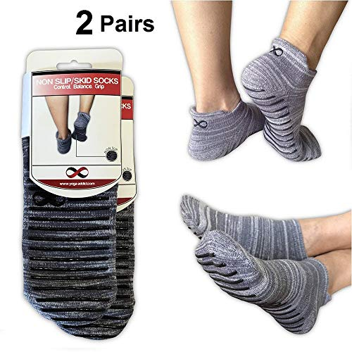 YogaAddict Non Slip Skid Socks with Grips, for Hospital Rehab, Traveling, Yoga, Pilates, Barre, Martial Arts, Trampoline, Fitness, Home Use, for Women, Men, Grey (Mix Shades) - Size L/XL