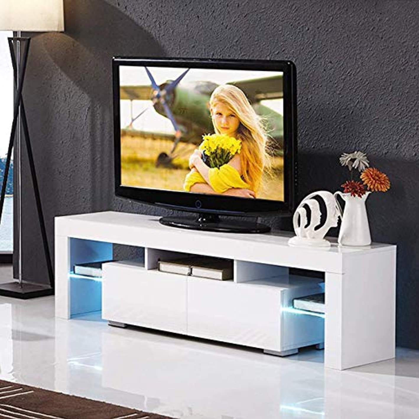 Mecor High Gloss TV Stand with LED Lights, 63 Inch White TV Console Cabinet with Storage and 2 Drawers Living Room Modern Furniture (White)