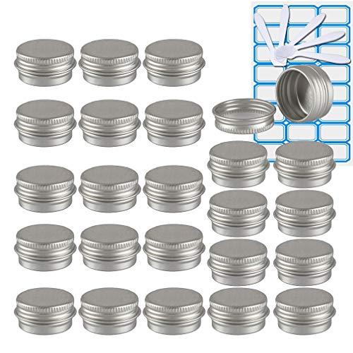 TIANZD 24 Piezas Bote de Aluminio con Tapa Rosca - 5ml, Plata Tarros de Aluminio Vacíos, Cosmetica cremas, Almacenar Pequeñas Cosas, Velas - 1x Etiqueta y 5X Mini Espátula