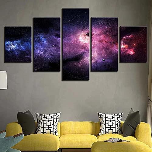 GHYTR Impresión En Lienzo 5 Piezas Cuadro sobre Lienzo Paisaje del Cielo Estrellado Imágenes XXL 150X80Cm Oficina Sala De Estar O Dormitorio Decoración del Hogar Arte De Pared
