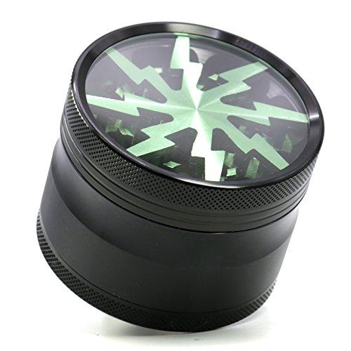4 Piece 2.5″ Aluminum Lightning Pattern Clear Top Grinder (Green)