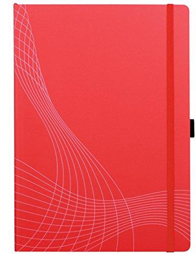 AVERY Zweckform 7043 Notizbuch notizio (A4, Softcover, gebunden, kariert, 90 g/m², 80 Seiten, Notizblock mit Innentasche, Stiftschlaufe, Verschlussband und Lesezeichenband) rot