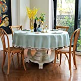 Nobranded HSMHQJ Solid Table Cloth Round Tablecloth Nappe Table Cover Party Wedding Table Cloth for Home Table Decoration Mantel Home Decor Blue-Green Round 47inch 120cm