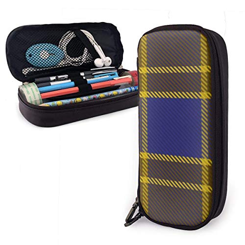 Leather Pencil Case Bag Durable High Capacity Stationery Pen Pouch Makeup Bag Clan Balfour Tartan