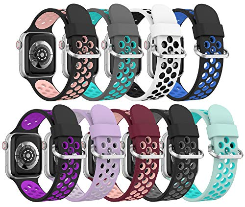 Correa Apple Watch Deportiva, Compatible con Apple Watch Correa 38mm 42mm 40mm 44mm, Soft Silicone Transpirable Dual Color Correa de Reloj de Repuesto para Apple Watch SE/iWatch Series 6 5 4 3 2 1
