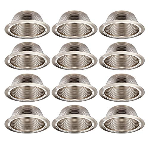 TORCHSTAR 12-Pack 6 Inch Recessed Can Light Trim with Satin Nickel Metal Step Baffle, Detachable Iron Ring Included, Fit Halo and Juno Remodel Recessed Housing