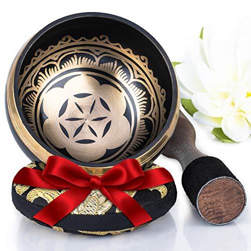 Silent Mind ~ Campana Tibetana con Accessori ~ Modello Power and Strength ~ Con Battente a Doppia Superficie e Cuscino di Seta ~ Favorisce la Serenità e la Consapevolezza ~ Dono Squisito