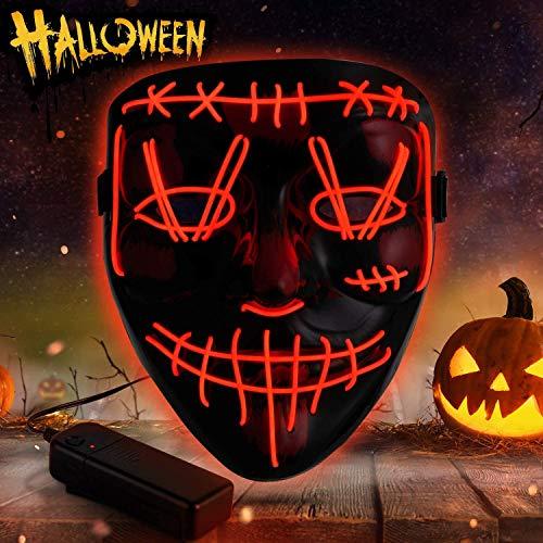 Sinwind Mascaras Halloween, Purga Mascara, Mascaras Led, Mascaras Neon, Máscara Halloween Led, Máscaras Halloween De Terror para Halloween Cosplay Grimace Festival Fiesta Show (Rojo)