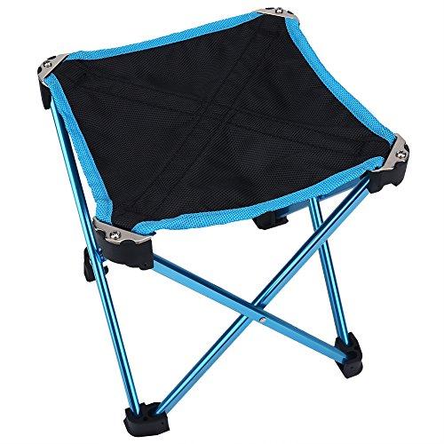 RBSD Mini tragbarer Stuhl, Klappstuhl aus Aluminiumlegierung Klappbarer Campingstuhl Kinder Klappstuhl Tragbarer Angelstuhl, tragbar zum Angeln Camping(Blue)