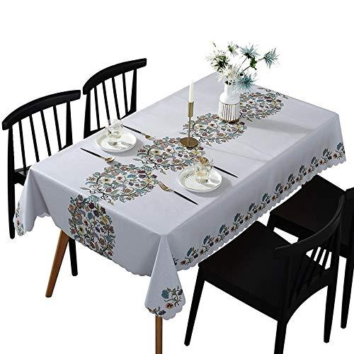 sans_marque Mantel rectangular de algodón y lino, antiarrugas, lavable, para mesa de cocina, comedor, fiesta, 135 x 250 cm