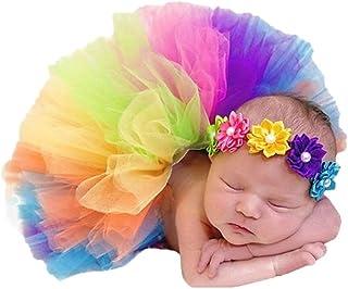 Li-ly Accessoires de Photographie de bébé de qualité supérieure Accessoires Tenues Jupe Tutu Arc-en-Ciel en Tulle avec Ban...