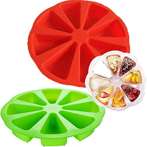 2 Pcs Silicone Baking Molds,8 Cavity Silicone Scone Pan/Triangle Cavity Cake Pan, Brownies Muffins, Scottish Scone & Cornbread Pan Slices Pastry Pan Pizza Slices Pan