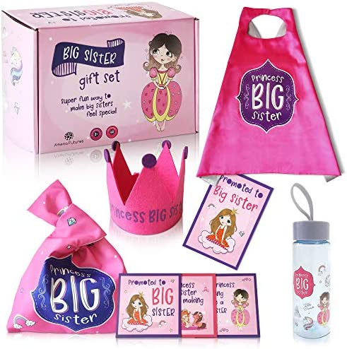 Big Sister Gift Set For Toddler Girls 6 Pieces Princess Set for Older Sibling Princess Costume product image