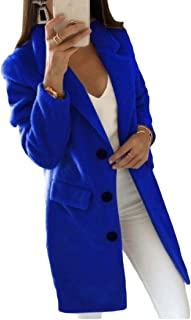 Womens Overcoat Woolen Winter Single Breasted Outwear Long Trench Coats