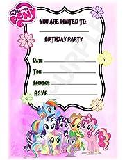 My Little Pony - Invitaciones para fiesta de cumpleaños, diseño de marco de retrato (12 invitaciones A5) (con sobres)