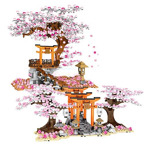 Myste Romántica casa de árbol Sakura con luz LED, 1814 + pieza DIY de flores de cerezo modelo paisaje con escalera, valla y placas base, arquitectura casa compatible con casa de árbol Lego