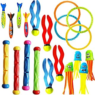 Cakuni Underwater Swim Pool Diving Toys - Summer Swimming Dive Toy Sets - Water Rings,Sticks,Octopus,Torpedo Bandits & Bal...