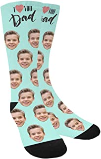 Custom Face Socks,Turn Your Photo Into I Love You Dad Crew Socks Unisex Father's Day