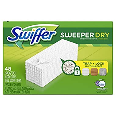 Swiffer Sweeper Dry Sweeping Pad Multi Surface Refills for Dusters Floor Mop, Lavender & Vanilla Comfort, 48 Count (Packaging May Vary)