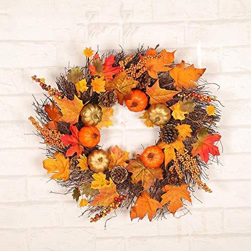Künstlich Ahornkranz, 45 CM Herbstkranz Ahornblatt Türkranz Herbst Tannenzapfen Beere für Halloween Erntedankfest Innen- oder Dekoration