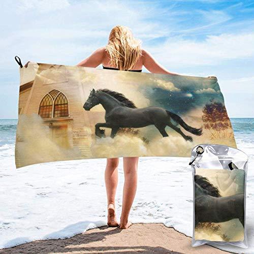 Toallas de Playa de Antiarena de Microfibra para Hombre Mujer, 130x80cm, Toallas Baño Calidad Gigante Secado Rapido para Piscina, Manta Playa, Toalla Yoga Deporte Gimnasio,Caballo Guapo