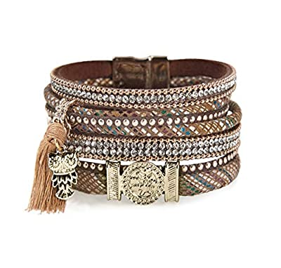 Geharty Leather Wrap Bracelet Boho Handmade Cuff Bracelets Wristbands Jewelry Casual Bangle Bohemian As Gift for Women Teen Girls Mother