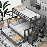 LUMISOL Twin Over Full Bunk Beds with Storage and Trundle, Wood Stairway Bunk Bed Frame for Kids & Adult(Gray-Twin Over Full)