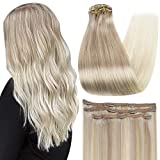 Full Shine 16 Inch Clip In Extensions Straight Human Hair Natural Clip In Hair Balayage Color 18 Fading To 22 and 60 Hair Extensions Clip In Remy Hair 50 Gram 3 Pcs Lace Clip Hair Extensions