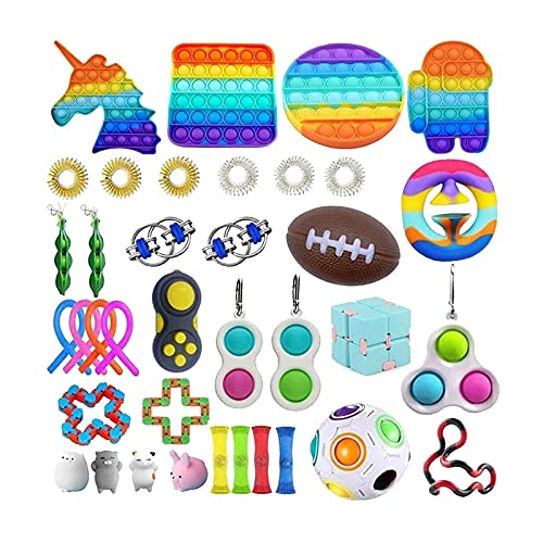 HINS Fidget Pack Fidget Toy Set, Stress Relief Kits Fidget Toy Pack Autism Toy Stress Ball Fidget Pack Sensory Toys for Autistic Children, Anti Stress Toy Set for Autism (21-37PC)