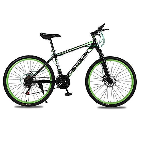 WEHOLY Vélo pour Hommes 'Mountain Bike, 24 Vitesses 26 Pouces Cadre en Aluminium, fourches de Suspension Avant entièrement réglables Freins à Disque de vélo, Vert, 21 Vitesses