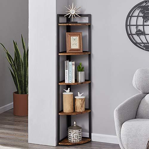 SUPERJARE Industrial Corner Shelf, 5-Tier Wood Wall Corner Bookcase with Metal Frame, Corner Storage...