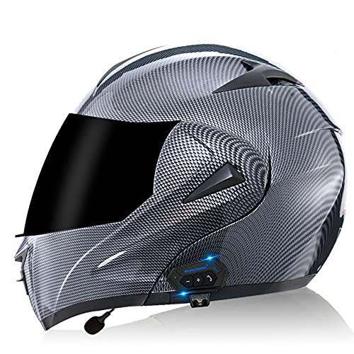 Casco Moto Bluetooth Modular Doble, ECE/Dot Homologado Casco integrales Moto para Hombre y Mujer, con un Micrófono Incorporado Anti Niebla Visera Doble S~XL
