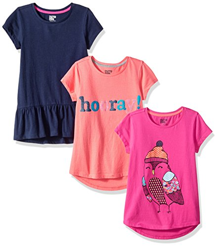 Amazon Brand - Spotted Zebra Kids Girls Short-Sleeve Tunic T-Shirts, 3-Pack Ditsy Bird, Small