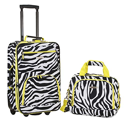 Rockland Fashion Softside Upright Luggage Set, Lime Zebra, 2-Piece (14/20)