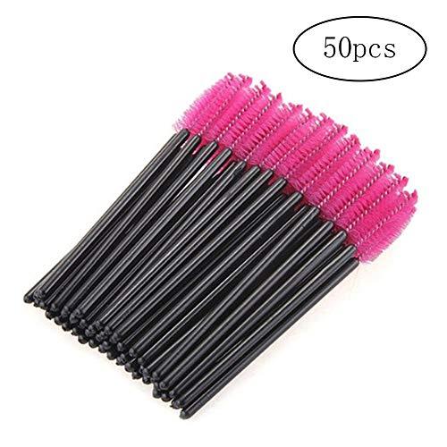 Xiton pinceau de maquillage 50 pièces Cils Brush Set jetable Cils Mascara Outils de maquillage Brosse et pinceaux pour Beauté Rosy
