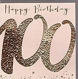 Belly Button Designs hochwertige Glückwunschkarte zum runden 100. Geburtstag aus der Paloma-Serie mit Prägung, Folie und Kristallen BB476