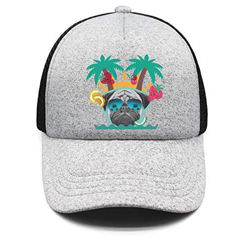 Beach Pug Sunglasses Dog Life Palm Tree Kids Dad Hats for Boys and Girls Sun Visor Best Caps