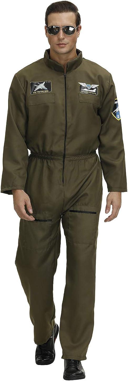 Grebrafan Inventory cleanup selling sale Pilot Costume Men Jumpsuit Green Suit Flight store
