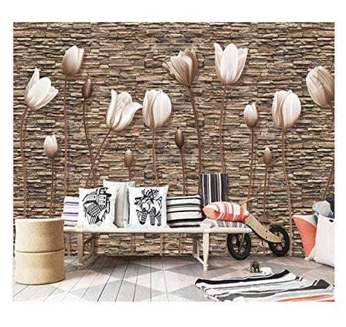 Ljtao Papiers Peints Muraux 3D Rétro Papier Peint De Mur De Pierre Fleur Photo Papier Peint Murale Home Decor Vinyle/Soie Papiers Peints-300Cmx210Cm