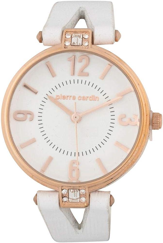 Pierre cardin,orologio per donna,cinturino in pelle e cassa in acciaio inossidabile 5031267046826