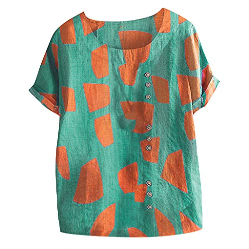 Discover Bargain Beihxwe Women Summer Short Sleeve Casual Blouses Round Neck Geometric Beach Tops fo...