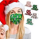 Lulupi 50 Stück Einweg Erwachsene Mundschutz Weihnachtsmotiv Mund und Nasenschutz Halstuch Maske 3D Druck Weihnachtsmaske Elch Motiv Einmal MNS Mund-Tuch Staubdicht Atmungsaktiv Tücher Bandana Schals
