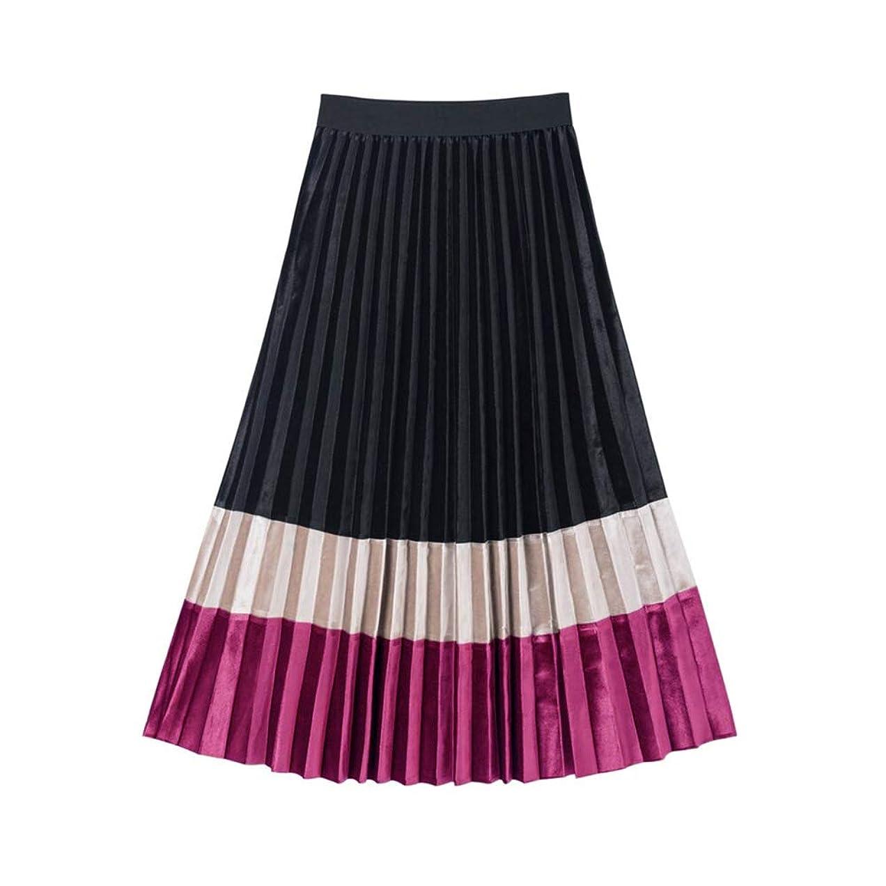 ネックレット情熱選択バイカラー ベロア プリーツスカート ギャザー