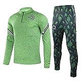 QJY Uniforme de fútbol Medio Cremallera remendar el Traje Deportivo Manga Larga Jersey y Pantalones Nigeria Club Training Traje Traje (Size : L)